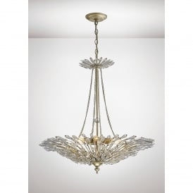 Fay 6 Light Ceiling Pendant In Aged Silver And Crystal Finish
