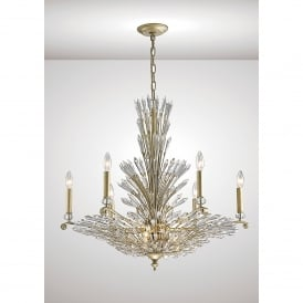 Fay 9 Light Ceiling Pendant In Aged Silver And Crystal Finish