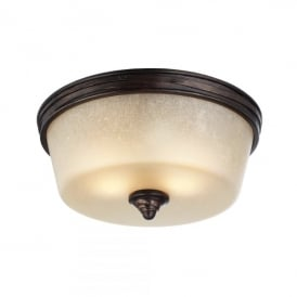 Feiss Arbor Creek 2 Light Flush Ceiling Fitting In Arbor Bronze And Weathered Brass Finish