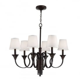 Feiss Arbor Creek 6 Light Ceiling Pendant In Arbor Bronze And Weathered Brass Finish