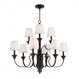 Feiss Arbor Creek 9 Light Ceiling Pendant In Arbor Bronze And Weathered Brass Finish