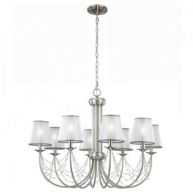 Feiss Aveline 8 Light Ceiling Chandelier In Brushed Steel Finish And Organza Shades