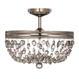 Feiss Malia 3 Light Crystal Semi-Flush Ceiling Fitting in Polished Nickel