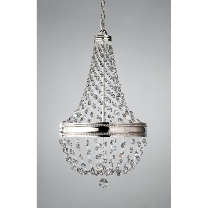Feiss Malia 6 Light Chandelier Pendant In Polished Nickel With Crystal