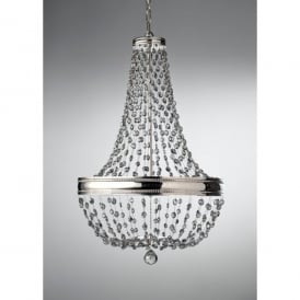 Feiss Malia Large 8 Light Chandelier Pendant in Polished Nickel with Crystal Detail