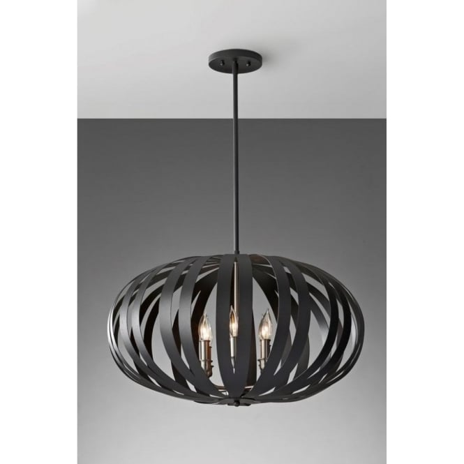 Elstead lighting feiss woodstock large 6 light chandelier pendant in feiss woodstock large 6 light chandelier pendant in a textured black finish mozeypictures Image collections