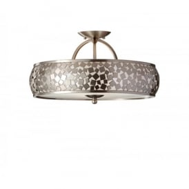 Feiss Zara 3 Light Semi-Flush Fitting with a Brushed Steel Finish and a Silver Organza Shade