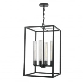 Felipe 4 Light Ceiling Pendant in Black Painted Finish With Ribbed Glass