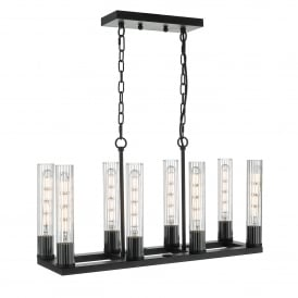 Felipe 8 Light Ceiling Bar Pendant in Black Painted Finish with Ribbed Glass