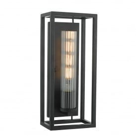 Felipe Single Light Wall Fitting in Black Painted Finish With Ribbed Glass