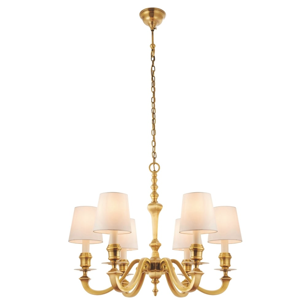 Interiors 1900 fenbridge 6 light multi arm ceiling chandelier in interiors 1900 fenbridge 6 light multi arm ceiling chandelier in solid brass complete with vintage white silk shades lighting type from castlegate lights arubaitofo Choice Image