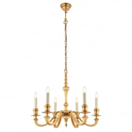 Fenbridge 6 Light Multi-Arm Ceiling Chandelier in Solid Brass Finish