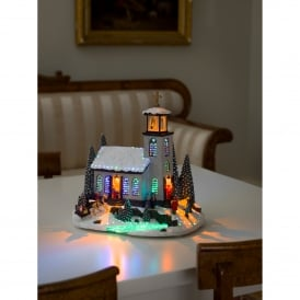 Fibre Optic Christmas Church Decoration with LED