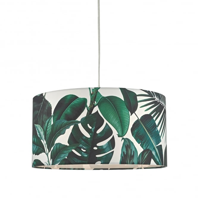 Dar Lighting Filip Easy Fit Pendant Shade in Leaf Green Print