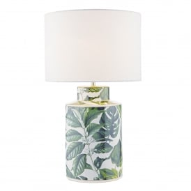 Filip Single Light Ceramic Lamp Base Only in White and Green Finish