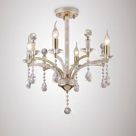 Fiore 4 Light Ceiling Fitting With French Gold And Crystal Finish