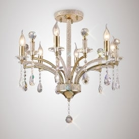 Fiore 6 Light Ceiling Fitting With French Gold And Crystal Finish