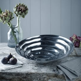 Firsova Round Tilted Bowl In Polished Aluminium Finish