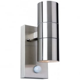 3429ST Colt 2 Light Outdoor Wall Lamp with PIR Sensor in Stainless Steel Finish