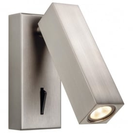 3455BN Solo Single Integrated LED Switched Wall Light in Brushed Nickel Finish Cuboid