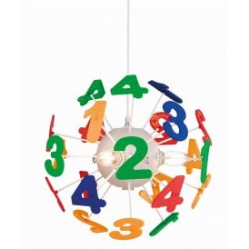 3741 Numbers 4 Light Ceiling Pendant in Multi-Coloured Finish