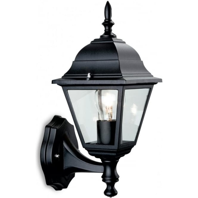 Firstlight 4 Panel Single Uplight Lantern Die Cast Aluminium in Black Finish