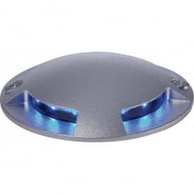4 Way Blue LED 12 Walkover Lights in Aluminium Finish
