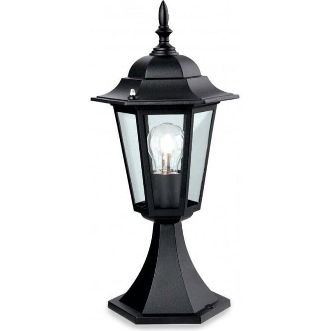 Cheltenham Cast Pedestal Lantern Light Black: Firstlight 6 Panel Single Pillar Light Die Cast Aluminium