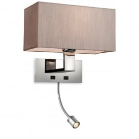 8608OY Prince 2 Light Wall (Switched) Lamp Fitting in Polished Stainless Steel wth Oyster Shade
