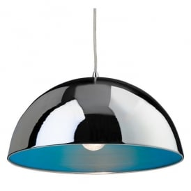 8622CHBL Bistro Single Light Ceiling Pendant in Polished Chrome with a Blue Interior