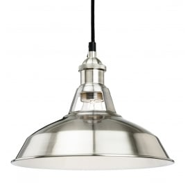 Albany Single Light Ceiling Pendant In Brushed Steel Finish