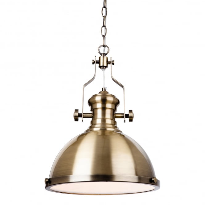 Firstlight Albion Single Light Ceiling Pendant In Antique Brass Finish