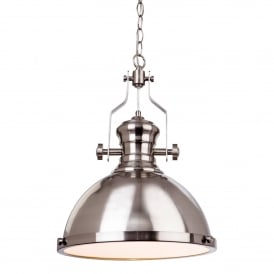 Albion Single Light Ceiling Pendant In Brushed Steel Finish