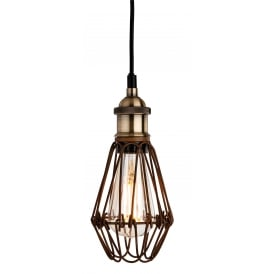 Arcade Single Light Ceiling Pendant in Rustic Brown Finish