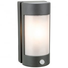 Arena Single Light Wall PIR Fitting Die Cast Aluminium in Graphite Finish with Opal Diffuser (Outdoor)