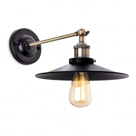 Ashby Single Light Wall Fitting In Antique Brass And Black Finish