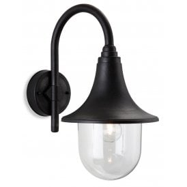 Astra Single Light Outdoor Wall Fitting In Black Finish With Clear Glass Shade
