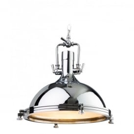 Bali Single Light Industrial Ceiling Pendant in a Polished Chrome Finish