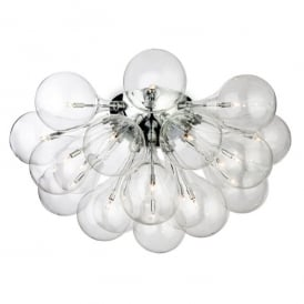 Ballo 20 Light Semi-Flush Ceiling Fitting with Clear Glass and Polished Chrome Finish