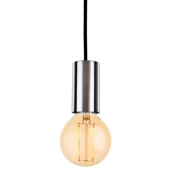Firstlight Berkeley Single Light Ceiling Pendant In Brushed Steel With LED Vintage Filament Lamp