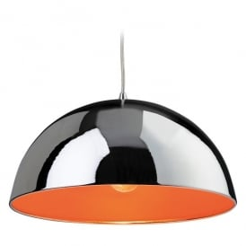 Bistro Single Light Ceiling Pendant in Polished Chrome with an Orange Interior