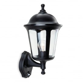 Boston Single Light Outdoor Wall Lantern In Black Finish With PIR Sensor