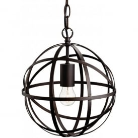 Castle Single Light Circular Ceiling Pendant in Antique Brown Finish