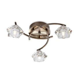 Clara 3 Light Flush Ceiling Fitting in Antique Brass Finish with Glass Shades