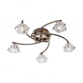 Clara 5 Light Flush Ceiling Fitting with Glass Shades in Antique Brass Finish