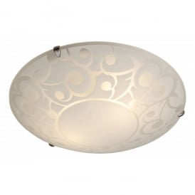 Coral 2 Light Flush Ceiling Fitting in Opal Glass