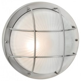 Court Single Outdoor Wall/Ceiling Light in Stainless Steel Finish with Frosted Glass
