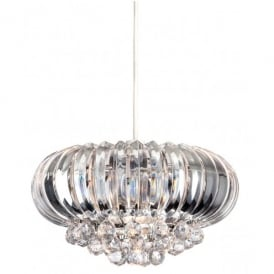 Crown Single Light Easy Fit Ceiling Pendant in Polished Chrome with Clear Acrylic