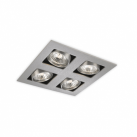 Cube Halogen 4 Light Square Recessed Downlight in Brushed Steel Finish