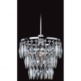 Easy-Fit Single Light Ceiling Pendant in Chrome Finish with Acrylic Droplets